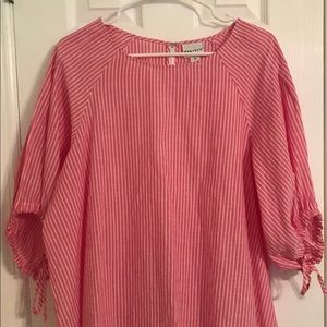 Pink and white stripe tunic blouse